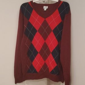 Mens OLD NAVY Sweater diamonds Sz LARGE - v neck